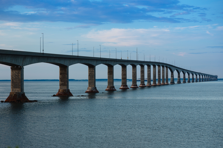 Prince Edward Island Stock Photo Confederation Bridge At Dusk Wide Stock Photo