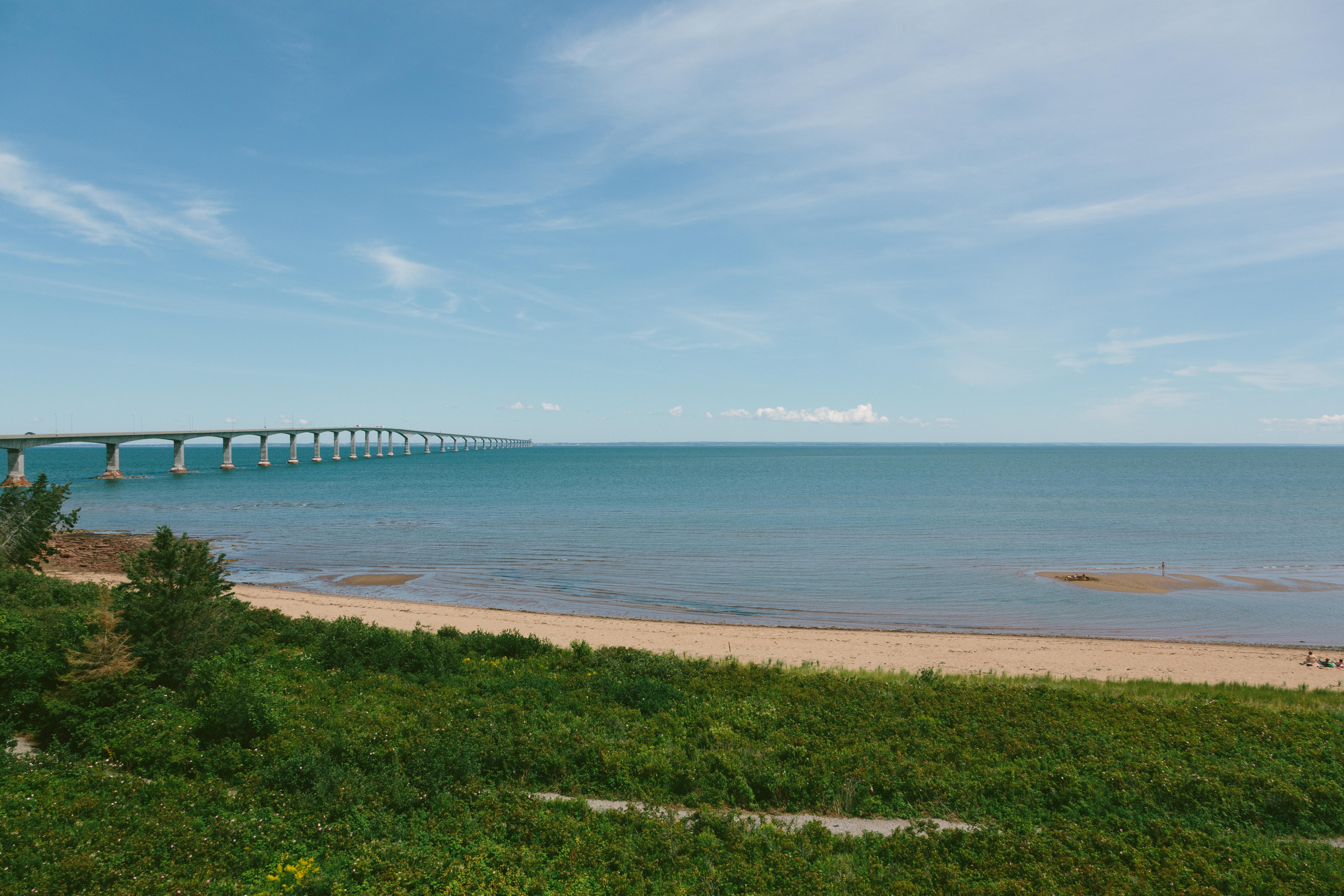 Prince Edward Island Stock Photo Confederation Bridge Beach Towards PEI Stock Photo