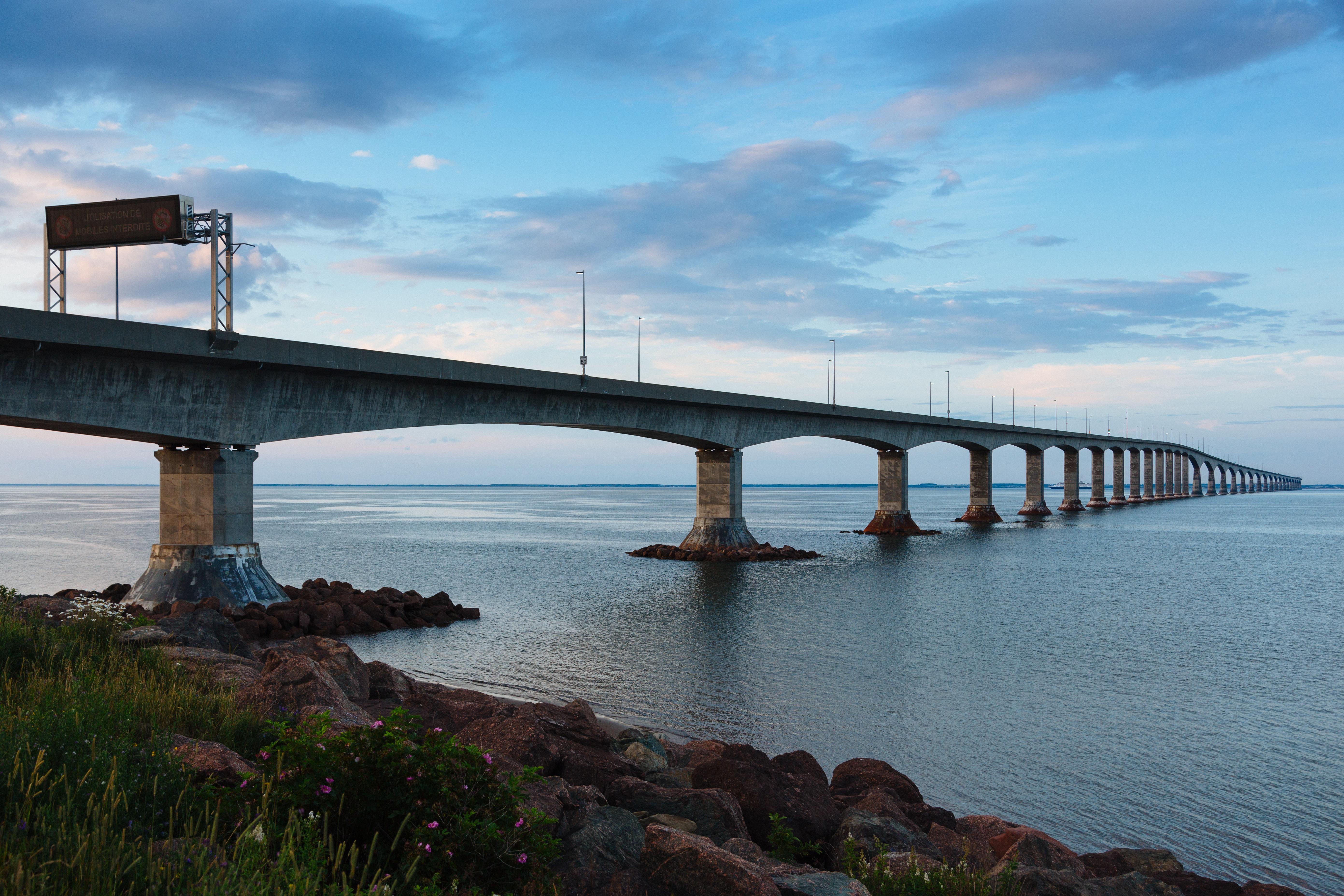 Prince Edward Island Stock Photo Confederation Bridge Start Stock Photo