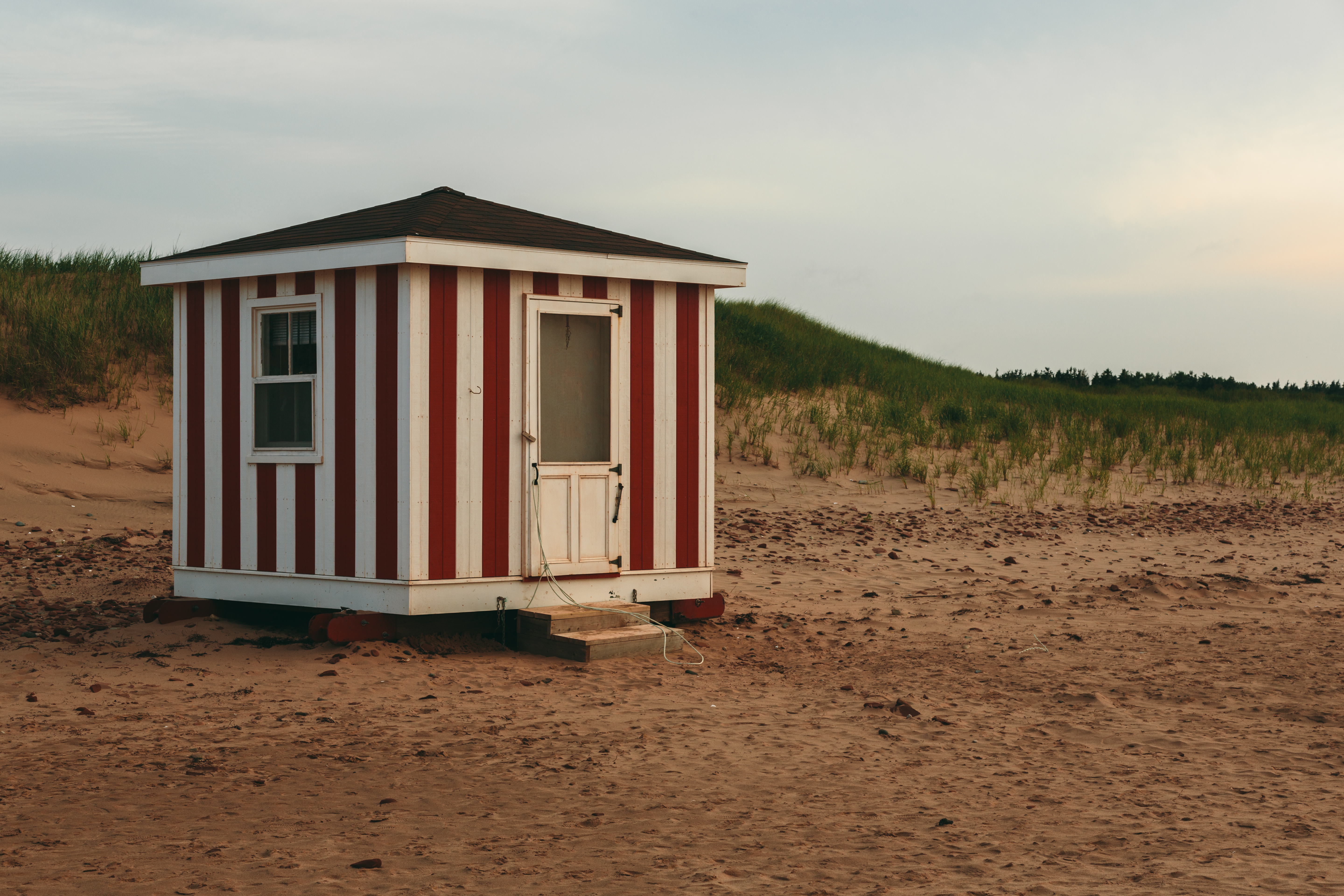 Prince Edward Island Stock Photo Life Guard Shed on Cavendish Beach in PEI Stock Photo