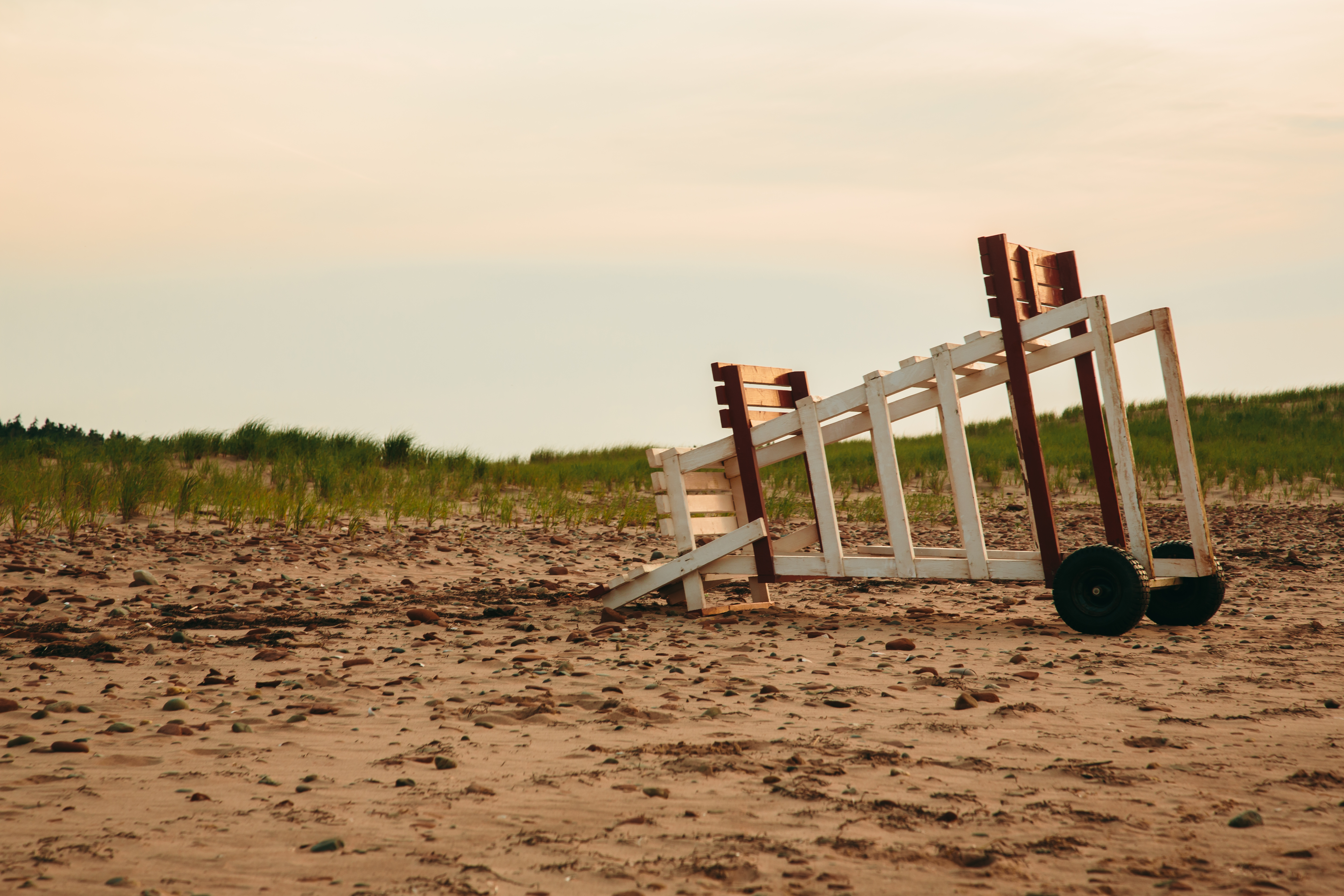 Prince Edward Island Stock Photo Lifeguard Chair Tipped on Cavendish Beach Stock Photo