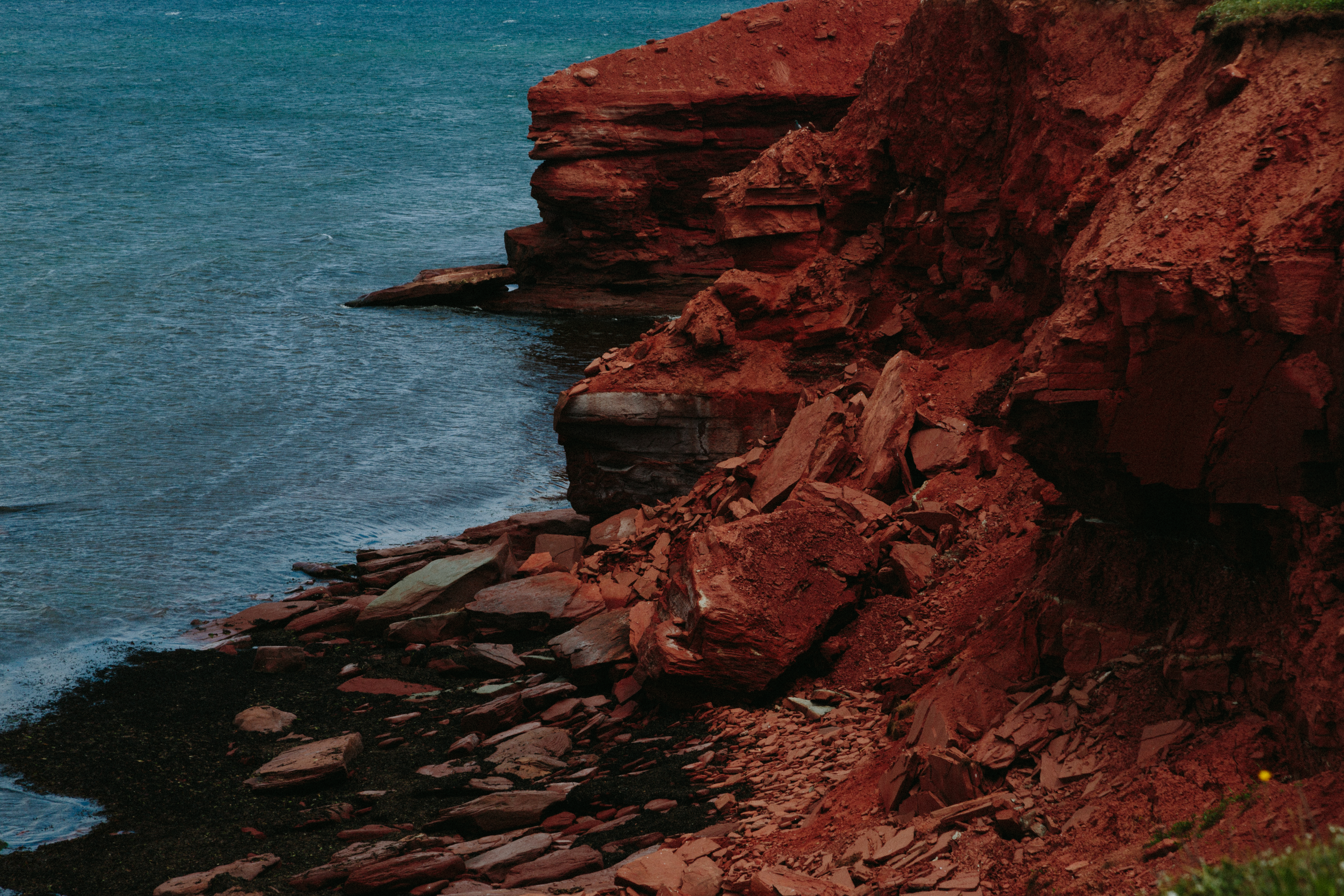 Prince Edward Island Stock Photo Red Sand Beach Cliffs Stock Photo