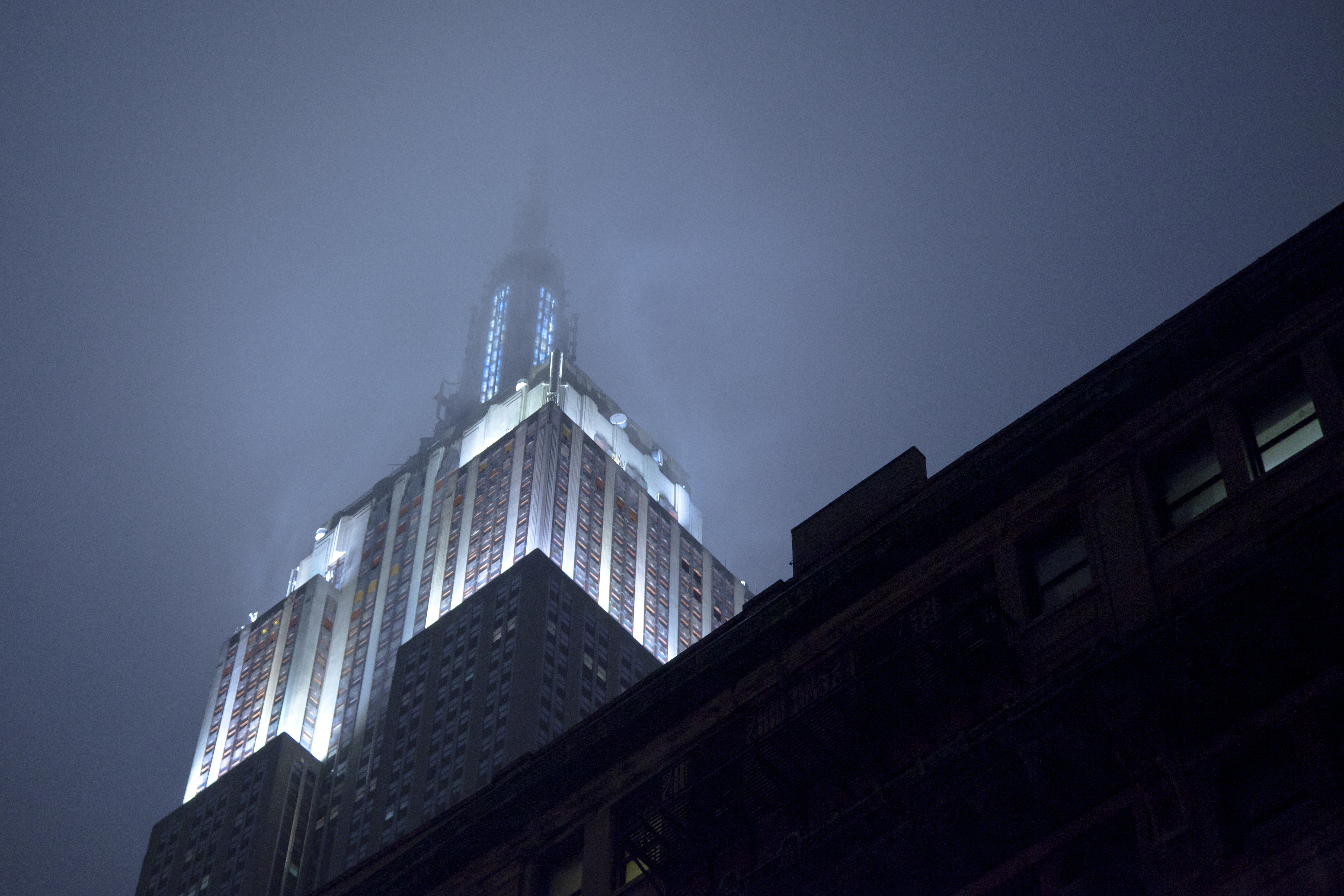 New York City Empire State Building At Night With Fog