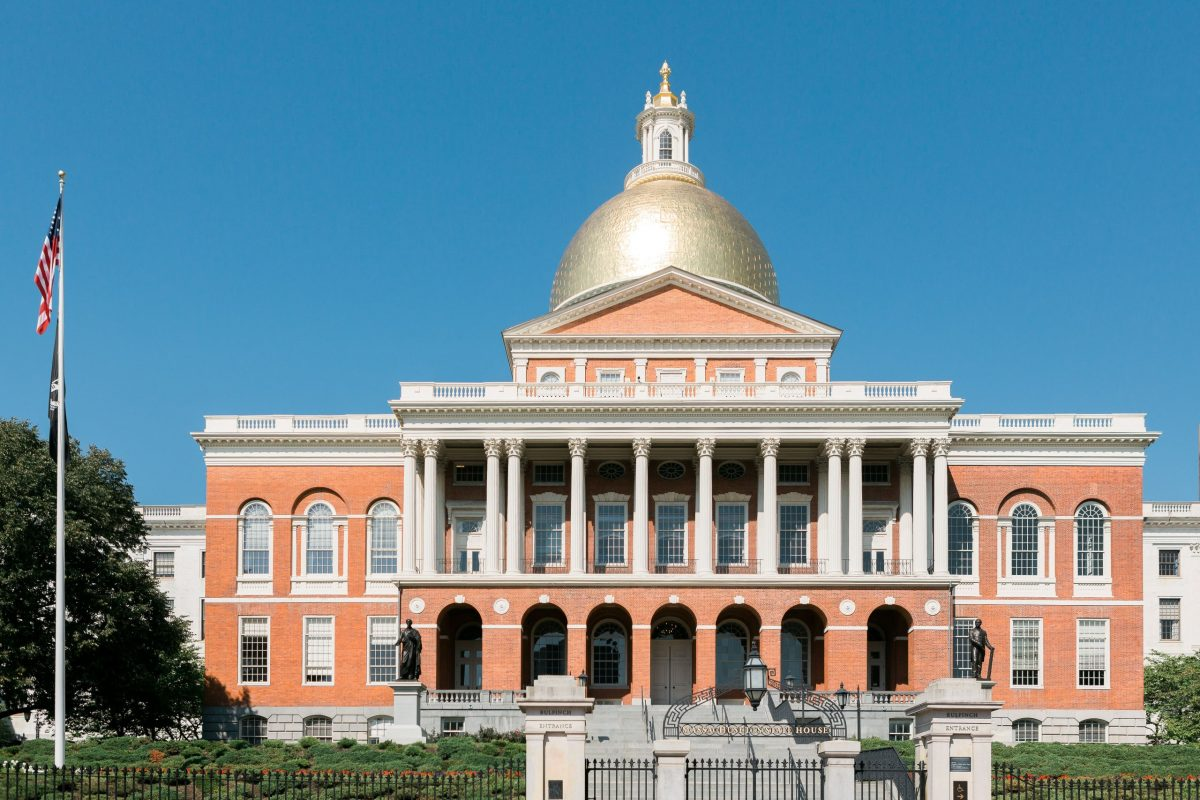 A photograph of Massachusetts State House Building