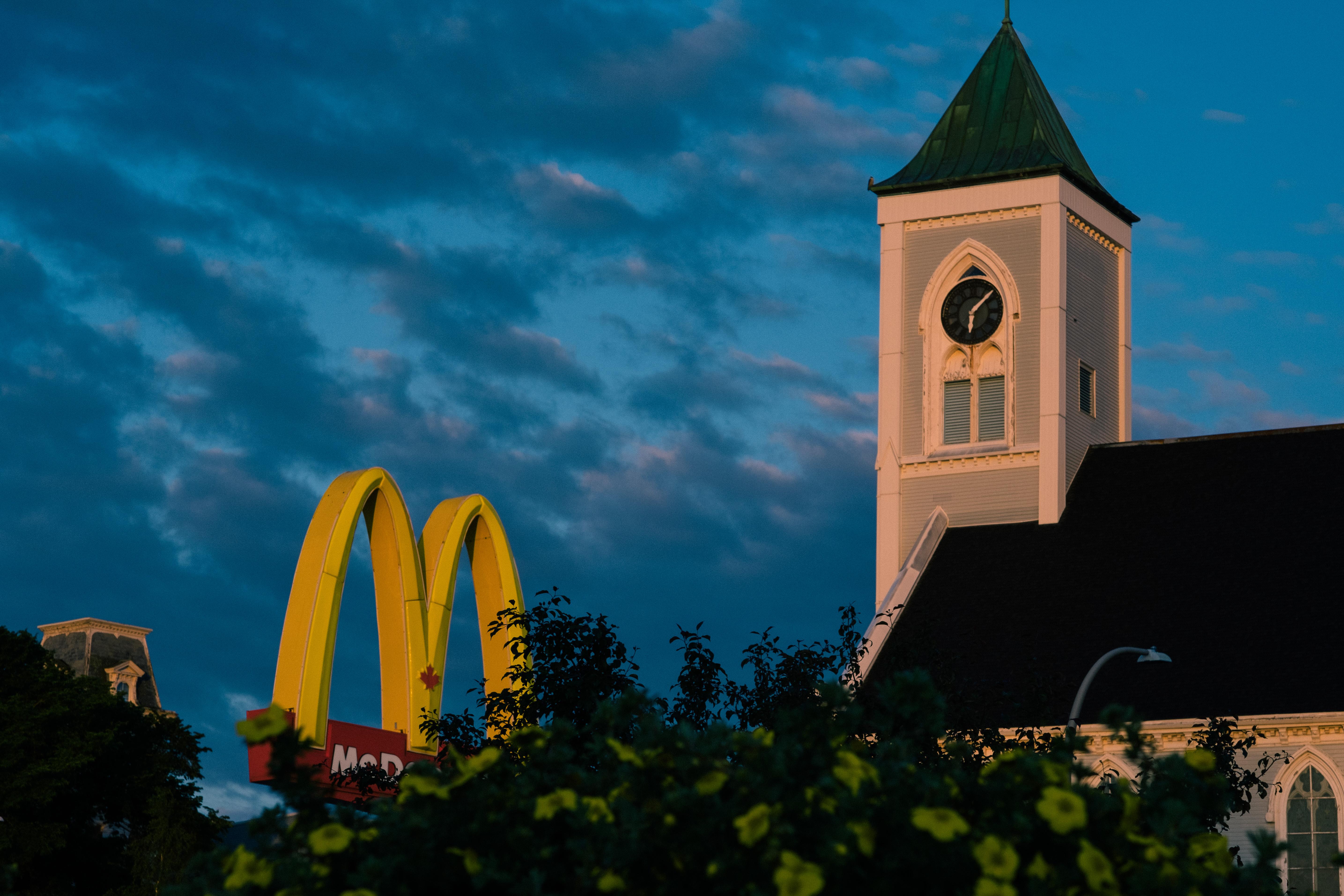 Mcdonalds Sign and Church Morning Light
