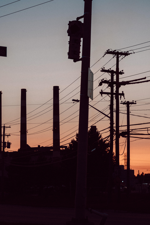 Telephone Poles Industrial Park Dusk